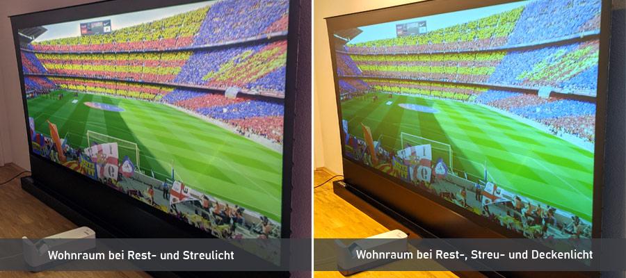 Laser TV Lichtbedingung Vergleich