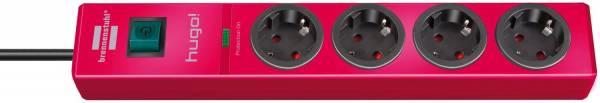 Brennenstuhl hugo! 19.500 A Überspannungsschutz-Steckdosenleiste 4-fach rubinrot