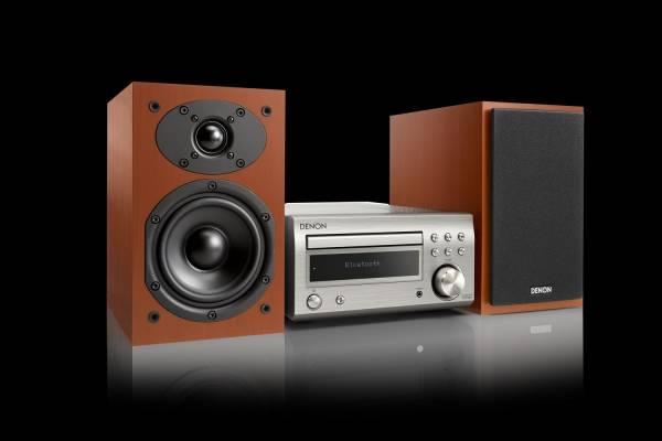 Denon D-M41 HiFi-System mit CD, Bluetooth und UKW/MW-Radio, premium silber/kirsche