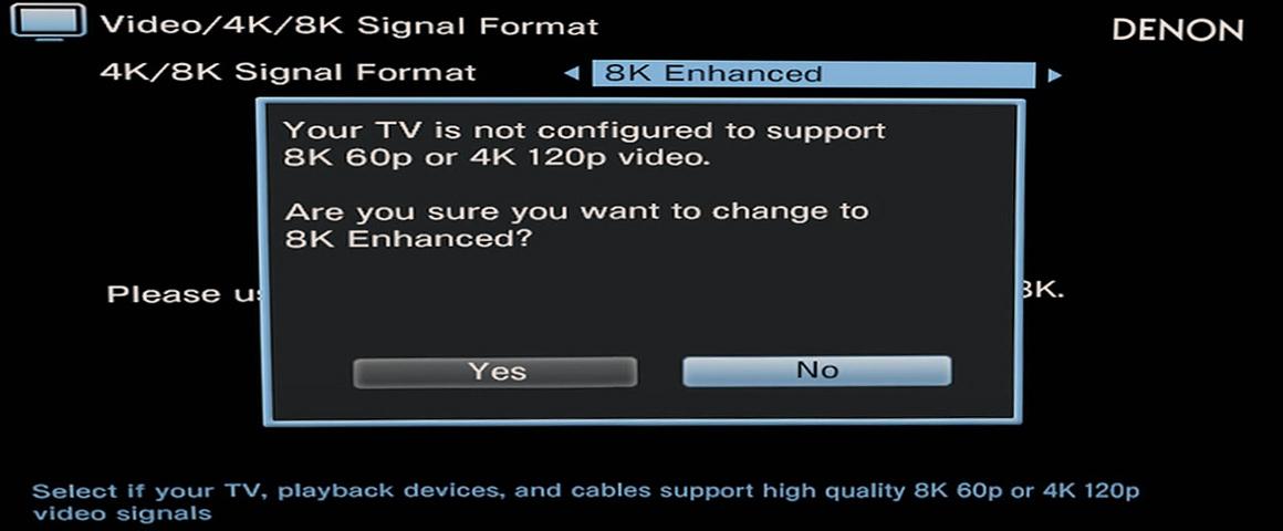 Denon AV-Receiver 8K Signal Einstellung