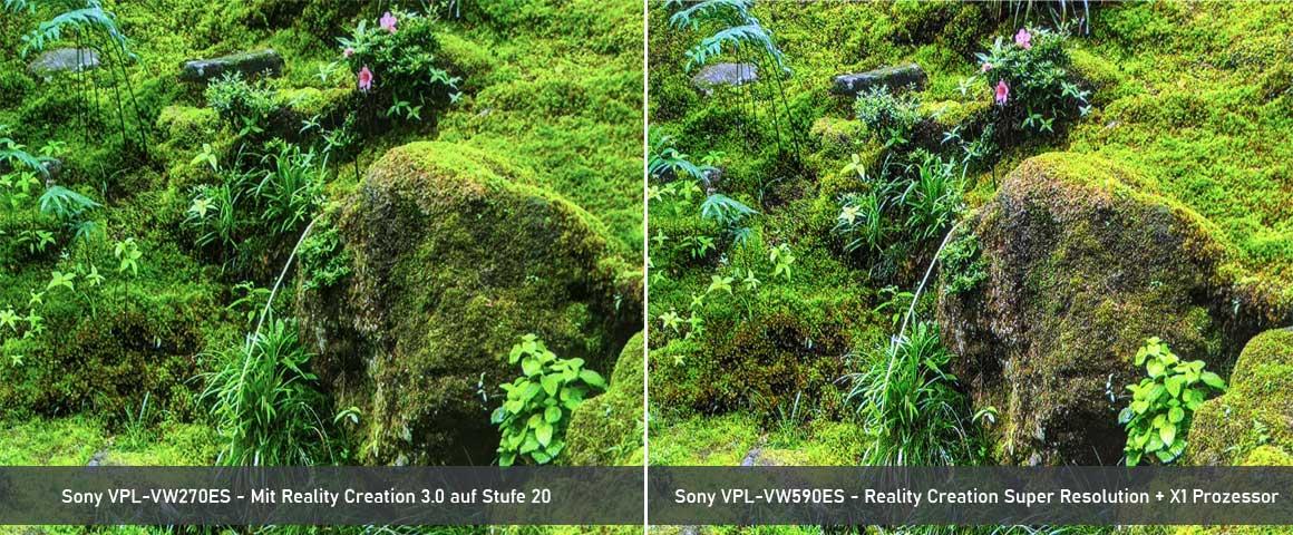 Sony VW590 Reality Creation Vergleich